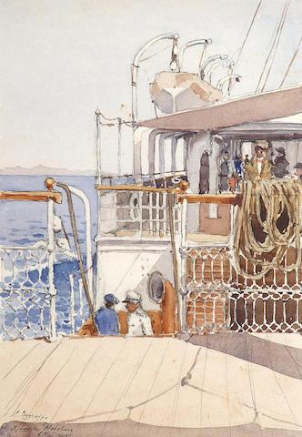 Constantinos Zograffos (Greek 1883-1913) a)A bord du Habsburg 37 x 25 cm. (14 1/2 x 10 in.) (3)