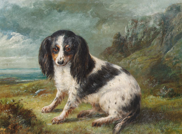English school late 19th century A King Charles Spaniel in a coastal landscape 18 x 24 in. (46 x 61 cm.)