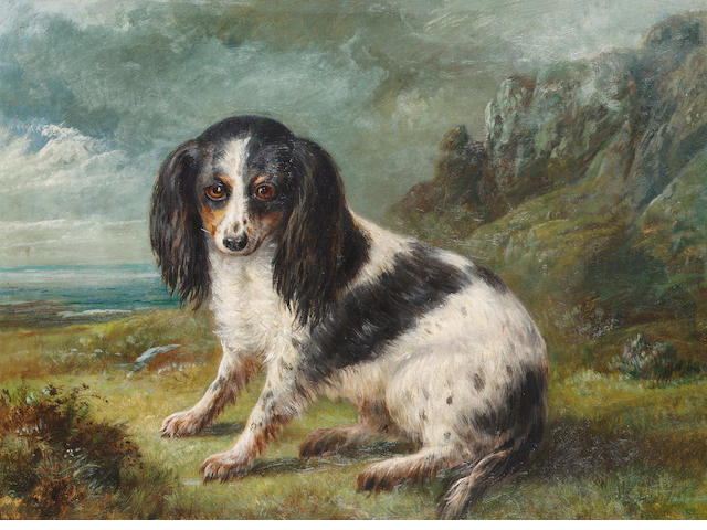 English school, late 19th century A King Charles Spaniel staning by a coast