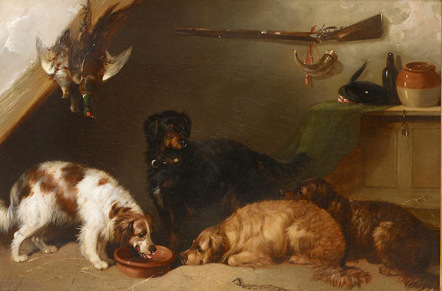 George Armfield (British 1810-1893) Gun dogs 13 1/2 x 19 in. (34.5 x 48.5 cm.)