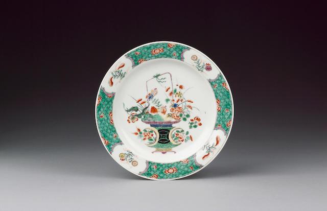 A rare Worcester famille verte plate circa 1765