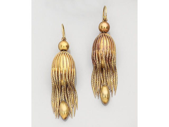 A pair of mid 19th century gold earpendants