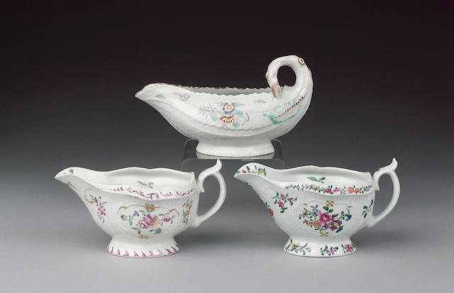 A Worcester strap fluted sauceboat circa 1762-65