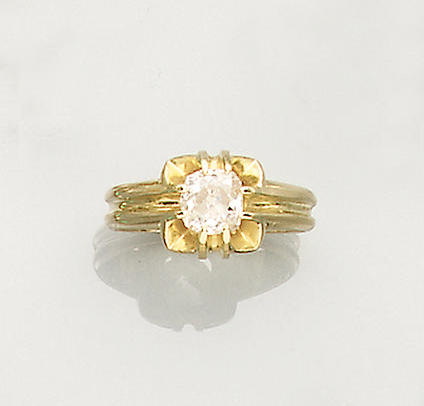 A late Victorian diamond single-stone ring,