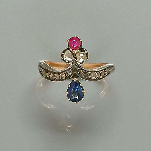A collection of six gem-set dress rings