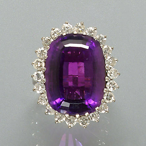 An amethyst and diamond cluster ring,