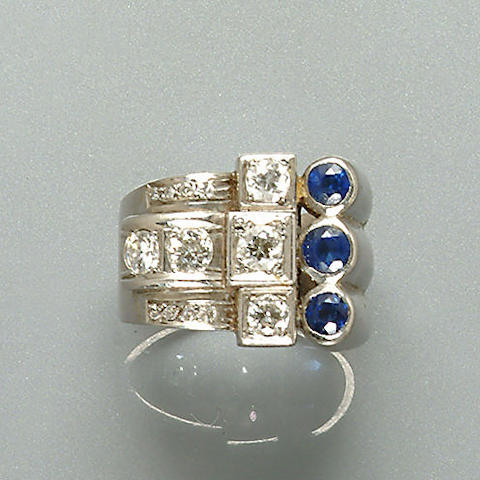 An art deco sapphire and diamond dress ring