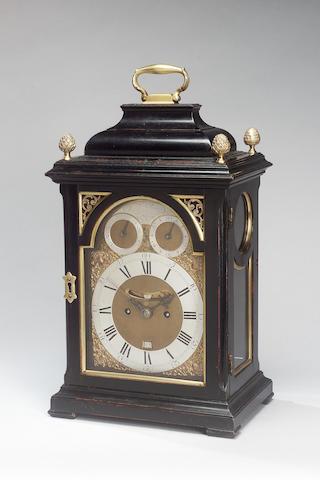 A fine mid 18th century brass mounted ebonised bracket clock William Allam, London