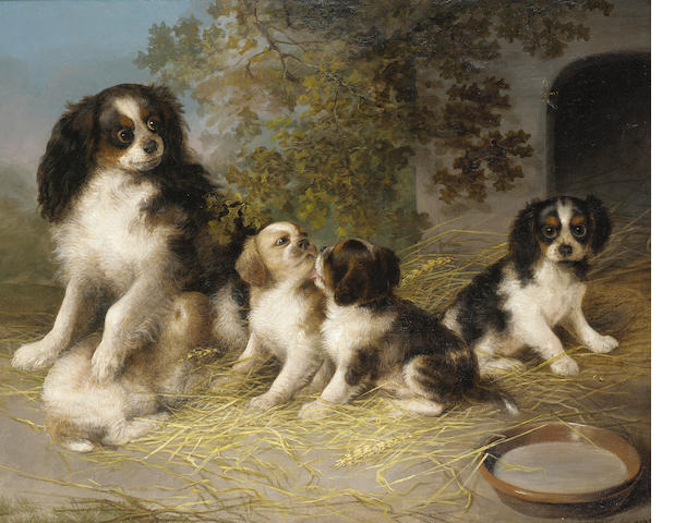 Stephen Taylor (British 19th century)  A happy family 25 x 31 1/2 in.(63.5 x 80 cm.)