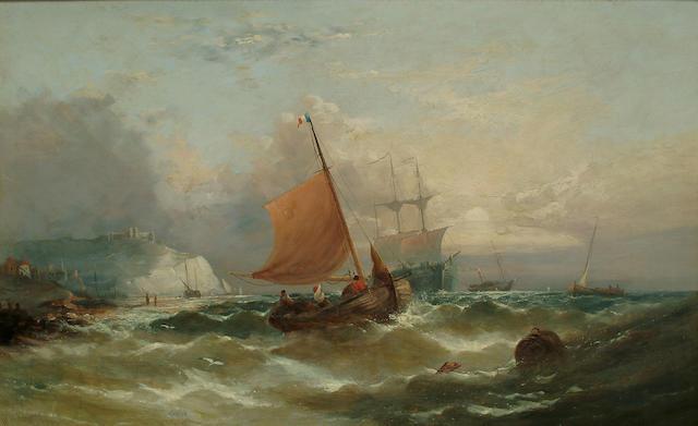 William H. Williamson (British, 1829-1883) Shipping off the coast, 19 1/2 x 31 1/8 in. (49.5 x 79.7 cm.)
