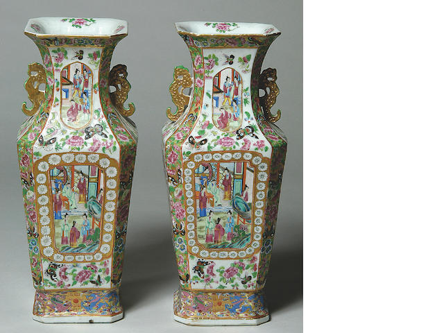 A pair of Chinese Canton porcelain vases,