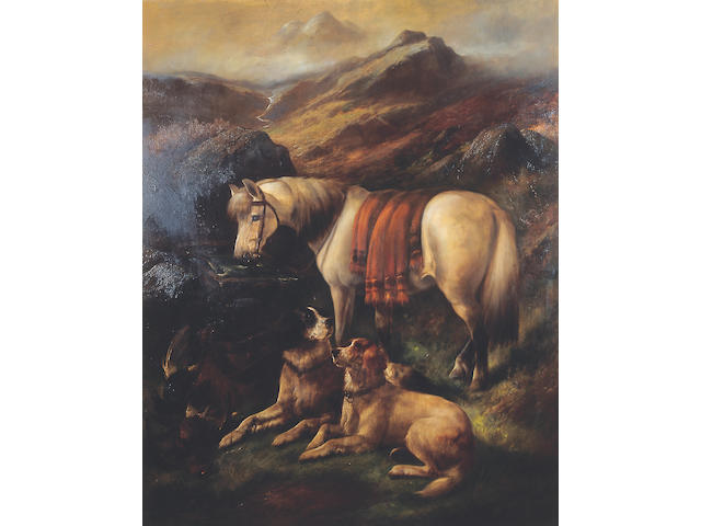 John Gifford (d.1900) Pony, gun dogs and brace of grouse in a highland landscapesigned, oil on canvas, 127 x 101.5cm (50 x 40in).  See illustration page 33