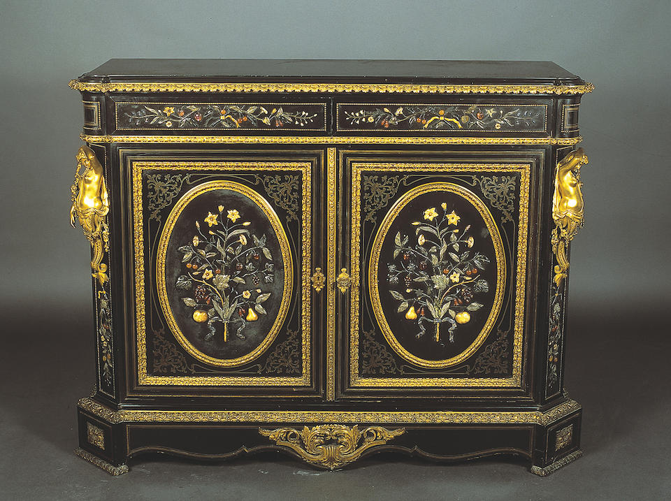 A fine mid-19th Century French pietre dure cabinet,