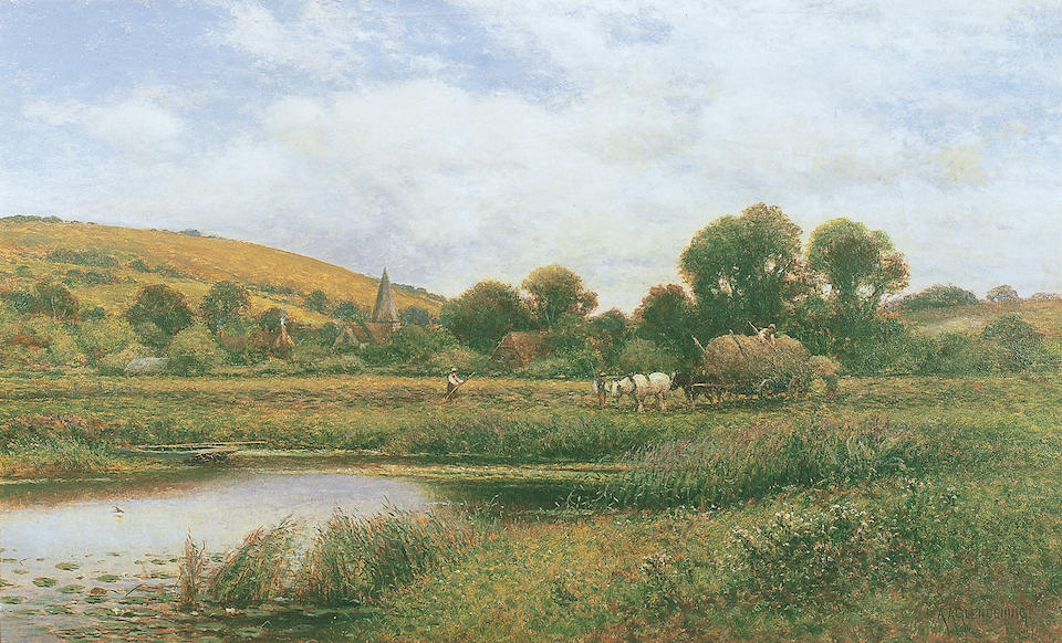 Alfred Augustus Glendening (fl. 1861-1903) British 'Bury Hill, Arundel, Sussex'signed 'A.A. Glendening', titled on stretcher verso, oil on canvas, 41 x 66cm (16 x 26in).  See illustration