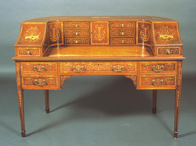 An Edwardian George III design mahogany, satinwood crossbanded and foliate marquetry Carlton House type desk,
