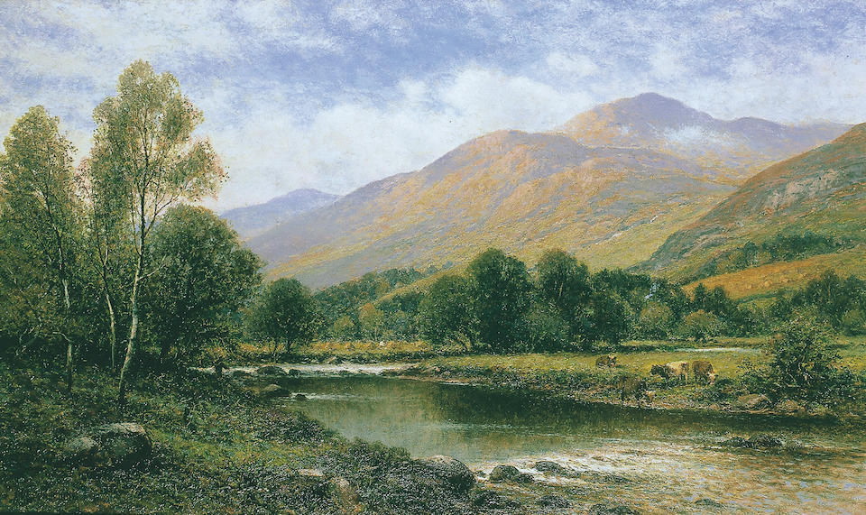 Alfred Augustus Glendening (fl. 1861-1903) British Near Capel Curigsigned 'A.A. Glendening', titled on stretcher 'Capel Curig', oil on canvas, 41 x 66cm (16 x 26in).