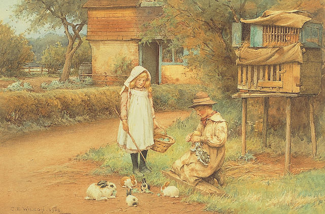 Charles Edward Wilson (1854-1941) British Feeding the rabbitssigned and dated 'C.E. Wilson 1908', watercolour heightened with touches of white, 19.5 x 29cm (7¾ x 11½in).  See illustration