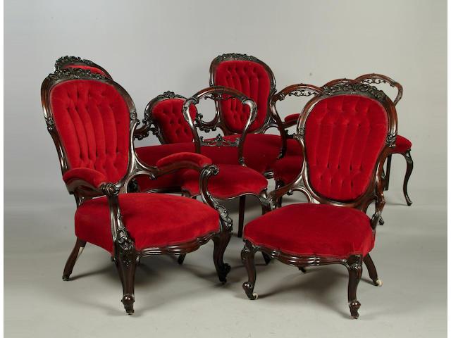 A Victorian mahogany salon suite