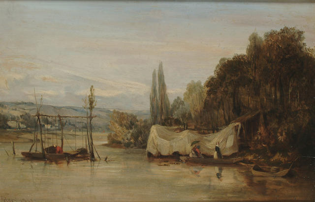 Camille Flers (French, 1802-1868) On a quiet river, 9 1/4 x 14 1/8 in. (23.5 x 36 cm.)