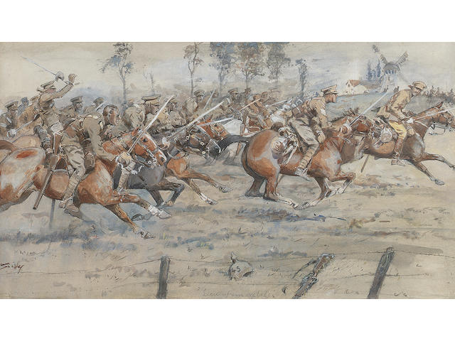 "'Snaffles'  ""Charge of the 1st Cavalry Brigade 1914"""