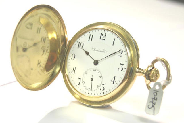 A Swiss 18ct gold full hunter pocket watch case numbered 69185, circa 1910