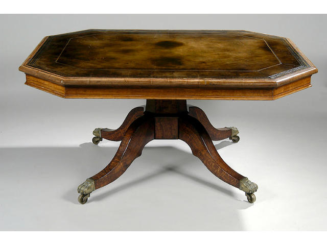 A Regency pollard oak centre table,