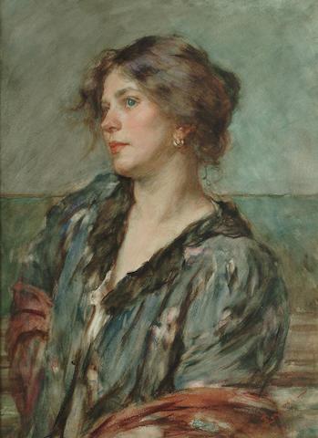 Alessandro Zezzos (Italian, 1848-1913) A Venetian lady 50.8 x 38.1 cm. (20 x 15 in.)