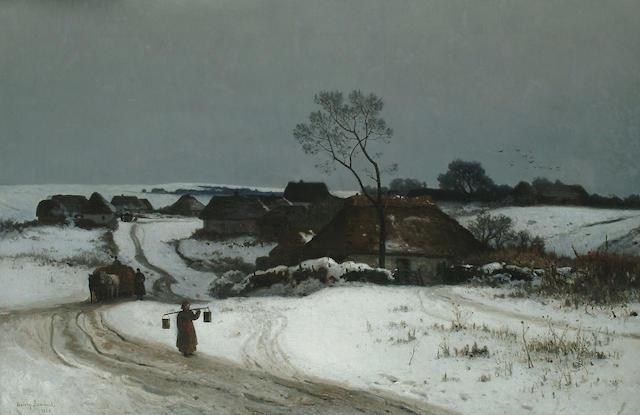 Walery Brochocki (Polish, 1849-1923) A figure in an extensive winter landscape, a village beyond, 29 1/2 x 45 1/4 in. (75 x 115 cm.)