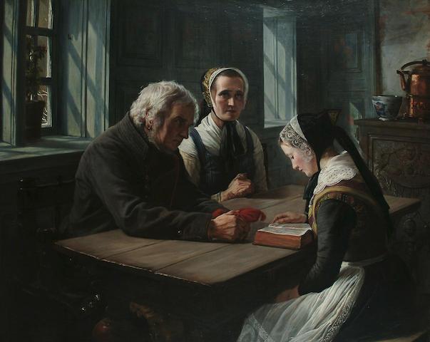 Anna Maria Elisabeth Jerichau-Baumann (Danish, 1819-1881) The reading, 125 x 155 cm (49 1/8 x 61 in.)