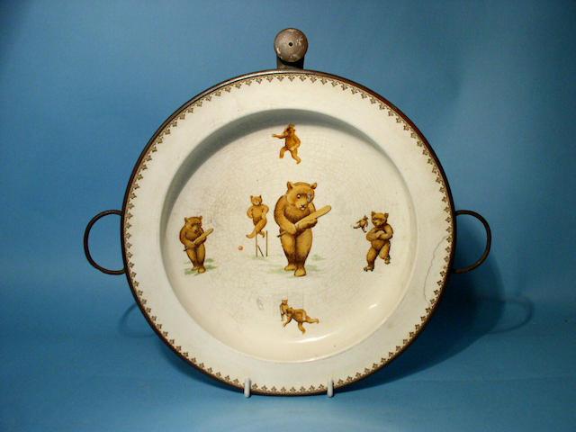 An English earthenware nursery hot plate, early 20th Century,
