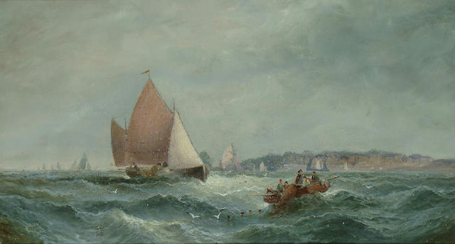 William A. Thornley (British, d.1898) 'Fishing craft off Whitby', 9 1/2 x 17 3/8 in. (24 x 44 cm.)