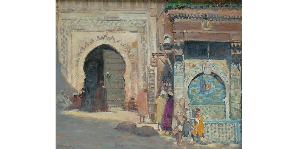 Joseph Félix Bouchor (French 1853-1937) 'La Place Nejjarine, Fez, Maroc', 15 x 18 1/2 in. (38 x 47 cm.)