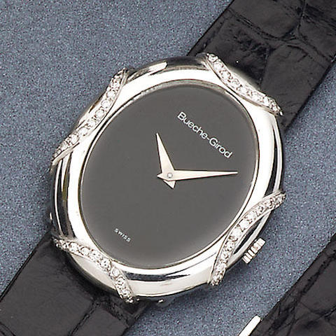 Bueche-Girod. An 18ct white gold and diamond set wristwatch London hallmark for 1973