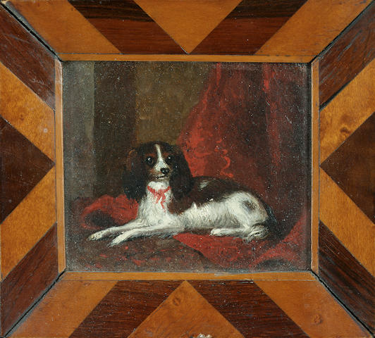 English School c. 1840 A Blenheim King Charles spaniel in an interior 2 3/4 x 3 1/4 in. (7 x 8 cm.)