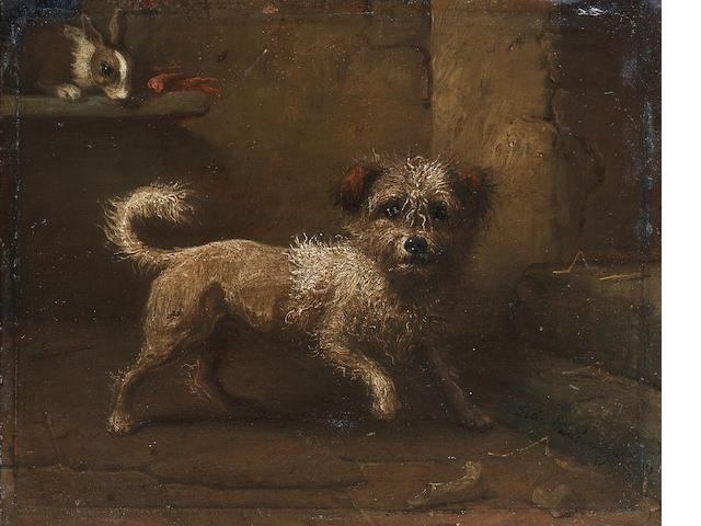 Felix van den Eycken (Belgian 19th century) Interior with terrier and rabbit; portrait of a dog on a