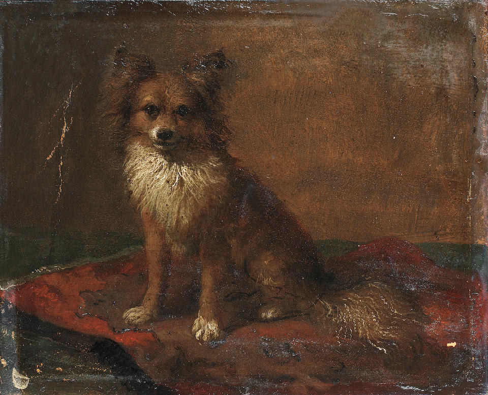 Felix van den Eycken (Belgian 19th century) Interior with terrier and rabbit; portrait of a dog on a red cushion each 6 1/2 x 8 in. (16.5 x 20.5 cm.) (2)