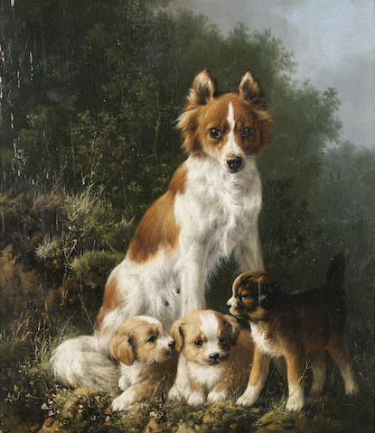Henriette Ronner-Knip (Dutch 1821-1909) The proud mother 11 3/4 x 10 1/4 in. (30 x 26 cm.)