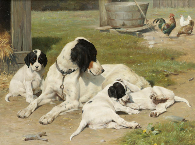 Ejnar Vindfeldt (Danish 1905-1953) An English Setter and pups in a sunny yard 14 x 18 in. (35.5 x 46 cm.)