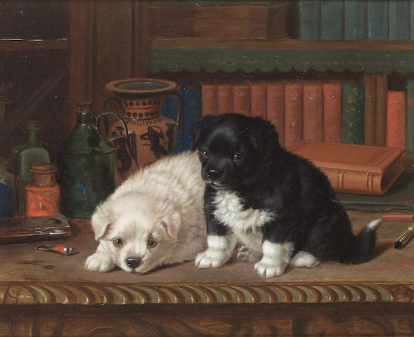Henry Horatio Couldery (British 1832-1893) Library companions 13 3/4 x 16 1/2 in. (35 x 42 cm.)