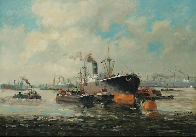 A Willcovorn Steamer in a busy harbour 48 x 69cm