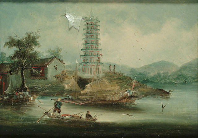 A pair of Chinese School oil paintings (damaged) 19th Century