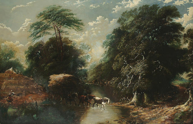 Circle of George Cole A hay cart fording a river, 84 x 129 cm.