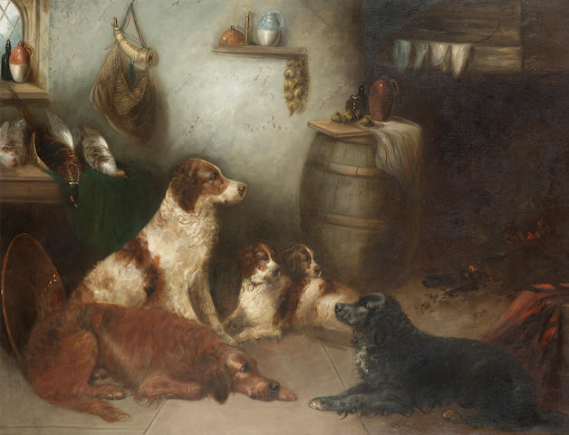 George Armfield (British fl. 1840-1875) The Game keeper's kitchen 28 x 36 in. (71 x 91.5 cm.)