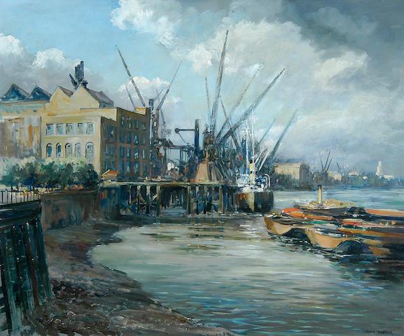 Max Hofler (1892-1963) Cranes at Shadwell 49 x 56cm (19¼ x 22in).