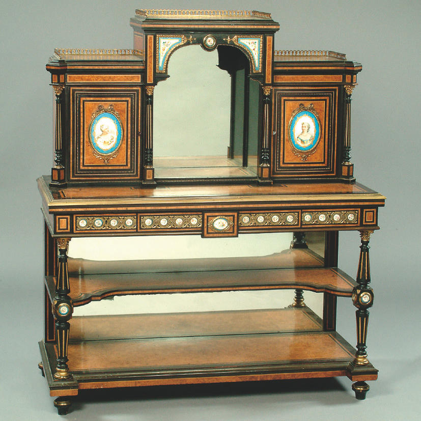 A Victorian amboyna and ebonised writing cabinet,