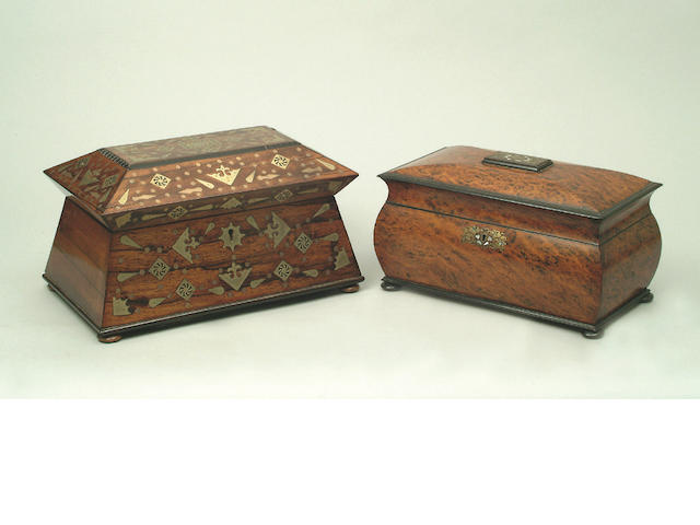 An early Victorian  pollarded oak and ebonised tea caddy,