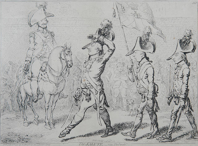 James Gillray (1756-1815) 'The Salute - vide the parade' image 25.5 x 35.5cm (10 x 14in), and six others similar.(7)