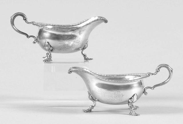 A pair of Irish sauceboats Robert Calderwood, circa 1760, no date letter,