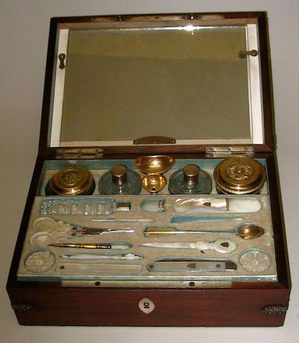 A mid-19th Century Palais Royal mahogany rectangular work box,