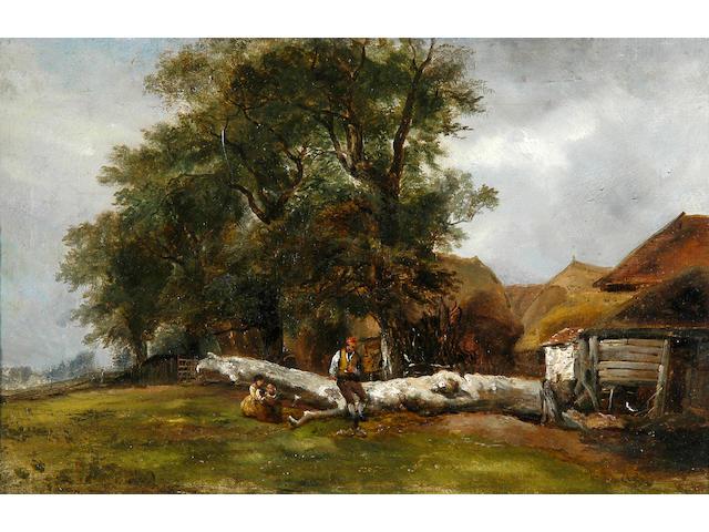Follower of Frederick Richard Lee, R.A. (1798-1879) Resting on a fallen tree by the farmyard 29.5 x 47.5cm (11½ x 18¾in(.